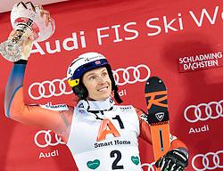 23.01.2018, Planai, Schladming, AUT, FIS Weltcup Ski Alpin, Schladming, Slalom, Herren, Siegerehrung, im Bild Henrik Kristoffersen (NOR, 2. Platz) // 2nd placed Henrik Kristoffersen of Norway during the winner Ceremony for the men's Slalom of FIS Ski Alpine World Cup at the Planai in Schladming, Austria on 2018/01/23. EXPA Pictures © 2018, PhotoCredit: EXPA/ Johann Groder