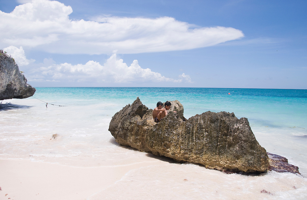 Once a powerful trading hub in the Mayan world, Tulum was enclosed with tall stone walls on three sides and massive cliffs on the fourth.  Tulum, Mexico, June 2009. (Photo/William Byrne Drumm)