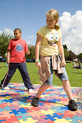 Children taking part in a hip hop; street dance workshop at a Parklife summer activities event,