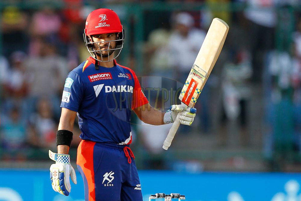 Jean-Paul Duminy of Delhi Daredevils celebrate his fifty during match 17 of the Vivo IPL ( Indian Premier League ) 2016 between the Delhi Daredevils and the Mumbai Indians held at The Feroz Shah Kotla Ground in Delhi, India,  on the 23rd April 2016<br /> <br /> Photo by Deepak Malik / IPL/ SPORTZPICS
