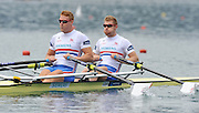 Bled, SLOVENIA. GBR M2X. Bow Matt WELLS and Marcus BATEMAN. start. Heats, First Day.  2011 FISA World Rowing Championships, Lake Bled. Sunday  28/08/2011  [Mandatory Credit; Peter Spurrier/ Intersport Images]