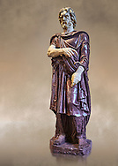 Statue of a Captive Barbarian - a 2nd century Ad Roman sculpture made in Porphyry and white marble from Rome, Italy. Restored by Pietro Benini brother of Bernin. The head and hands do not belong to the statue. The head is wearing a hat Phyrigian hat and recalls the same style as the famous Farnese Prisoners statues who were defeated Dacians from the Forum of Trajan (98-117 AD). The statue was from the facade of the Villa Borghese. The Borghese Collection Inv No. MR 331 or Ma 1385, Louvre Museum, Paris. .<br /> <br /> If you prefer to buy from our ALAMY STOCK LIBRARY page at https://www.alamy.com/portfolio/paul-williams-funkystock/greco-roman-sculptures.html- Type -    Louvre    - into LOWER SEARCH WITHIN GALLERY box - Refine search by adding a subject, place, background colour,etc.<br /> <br /> Visit our CLASSICAL WORLD HISTORIC SITES PHOTO COLLECTIONS for more photos to download or buy as wall art prints https://funkystock.photoshelter.com/gallery-collection/The-Romans-Art-Artefacts-Antiquities-Historic-Sites-Pictures-Images/C0000r2uLJJo9_s0c