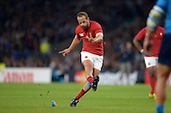 Frederic Michalak of France kicks a penalty.  Rugby World Cup 2015 pool D match, France v Italy at Twickenham Stadium in London on Saturday 19th September 2015.<br /> pic by John Patrick Fletcher, Andrew Orchard sports photography.