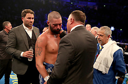 Tony Bellew after defeat by Oleksandr Usyk after their WBC, WBA, IBF, WBO & Ring Magazine Cruiserweight World Championship bout at Manchester Arena.