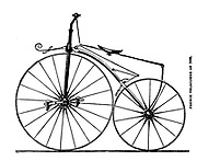 French Velocipede of 1869 [Early bicycle with pedals on the front wheel] from The American bicycler: a manual for the observer, the learner, and the expert by Pratt, Charles E. (Charles Eadward), 1845-1898. Publication date 1879. Publisher Boston, Houghton, Osgood and company