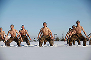HEIHE, CHINA - DECEMBER 15: (CHINA OUT)<br /> <br /> Frontier Scouts Take Snow Bath Training<br /> <br />  Half-naked frontier scouts jump up and pitch forward onto snow during a training session in 26 degrees Celsius below zero on December 15, 2015 in Heihe, Heilongjiang Province of China. Frontier scouts took cold-tolerance training in 26 degrees Celsius below zero in Heilongjiang. <br /> ©Exclusivepix Media