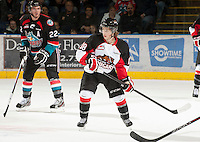 KELOWNA, CANADA - OCTOBER 18: Jake Mykitiuk #18 of the Prince George Cougars skates on the ice as the Prince George Cougars visit the Kelowna Rockets on October 18, 2012 at Prospera Place in Kelowna, British Columbia, Canada (Photo by Marissa Baecker/Shoot the Breeze) *** Local Caption ***