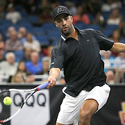 Tennis pro James Blake is seen as he plays during the PowerShares Tennis Series event at the Amway Center on January 5, 2017 in Orlando, Florida. (Alex Menendez via AP)