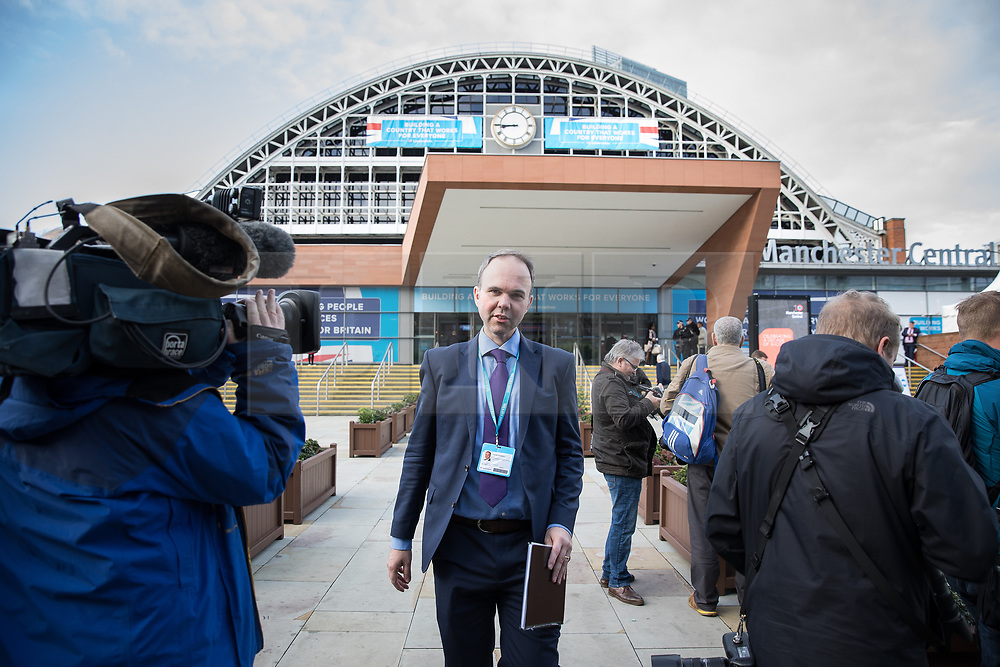 © Licensed to London News Pictures  . 03/10/2017 . Manchester , UK . GAVIN BARWELL , Downing Street Chief of Staff in front of the Manchester Central Convention Centre on day three of the Conservative Party Conference at the Manchester Central Convention Centre . Photo credit : Joel Goodman/LNP