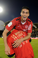 FOOTBALL - FRENCH CHAMPIONSHIP 2010/2011 - L2 - SCO ANGERS v DIJON FCO - 27/05/2011 - PHOTO JEAN MARIE HERVIO / DPPI - DIJON'S PLAYER MEHDI COURGNAUD CELEBRATION AFTER ACCESS TO LIGUE 1