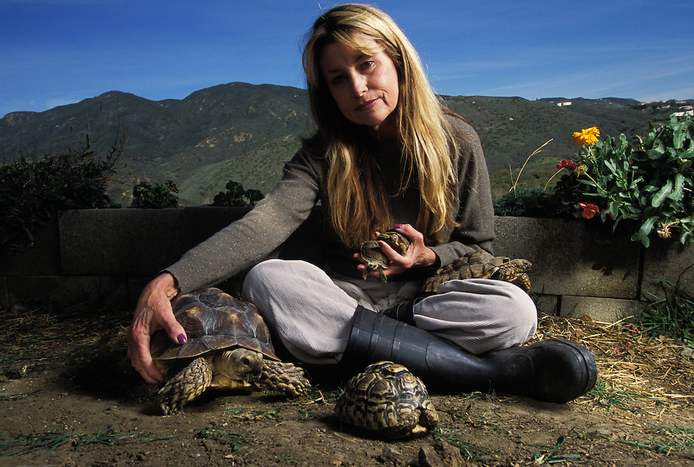 Susan Tellem, with tortoises she rescued.