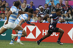 April 8, 2018 - Hong Kong, HONG KONG - Carlin Isles (1) of the United States shown against Argentina during the 2018 Hong Kong Rugby Sevens at Hong Kong Stadium in Hong Kong. (Credit Image: © David McIntyre via ZUMA Wire)