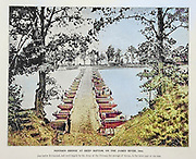 """Machine colorised PONTOON BRIDGE AT DEEP BOTTOM, ON THE JAMES RIVER, 1864 from The American Civil War book and Grant album : """"art immortelles"""" : a portfolio of half-tone reproductions from rare and costly photographs designed to perpetuate the memory of General Ulysses S. Grant, depicting scenes and incidents in connection with the Civil War Published  in Boston and New York by W. H. Allen in 1894"""