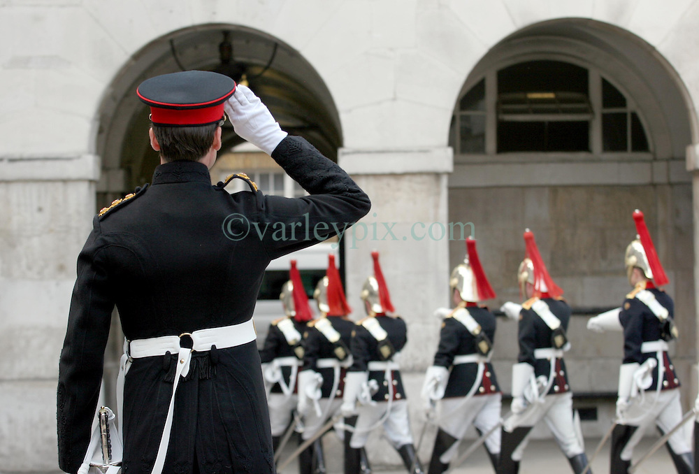 21 April 2011. London, England..Members of the Household Cavalry Regiment at Horse Guards Parade, part of the Royal wedding route where the procession will pass through en route to Buckingham Palace in the run up to Catherine Middleton's marriage to Prince William..Photo; Charlie Varley.
