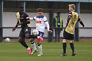 Marine forward Mo Touray (10) challenges for the ball with Havant and Waterlooville defender Benny Read (2) during the The FA Cup match between Marine and Havant & Waterlooville FC at Marine Travel Arena, Great Crosby, United Kingdom on 29 November 2020.