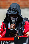 """A speaker addresses protestors during a """"Kill the Bill"""" demonstration outside Home Office in central London on Saturday, May 1st, 2021. (Photo/ Vudi Xhymshiti)"""