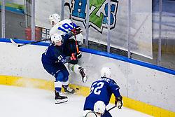 Pesut Ziga of Slovenia vs Rech Anthony of France during match at Beat Covid 19 IIHF Tournament 2021 between national teams of Slovenia and France in Hala Tivoli on 17th of May, 2021, Ljubljana, Slovenia . Photo By Grega Valancic / Sportida