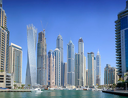 Skyline view of many high-rise apartment towers in Marina district of Dubai United Arab Emirates