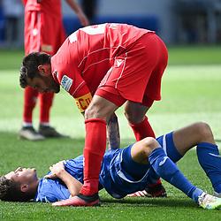 Fairplay: Christopher Trimmel (Union Berlin) kuemmert sich im Christoph Baumgartner (Hoffenheim).<br /> <br /> Sport: Fussball: 1. Bundesliga: Saison 19/20: 33. Spieltag: TSG 1899 Hoffenheim - 1. FC Union Berlin, 20.06.2020<br /> <br /> Foto: Markus Gilliar/GES/POOL/PIX-Sportfotos<br /> <br /> Foto © PIX-Sportfotos *** Foto ist honorarpflichtig! *** Auf Anfrage in hoeherer Qualitaet/Aufloesung. Belegexemplar erbeten. Veroeffentlichung ausschliesslich fuer journalistisch-publizistische Zwecke. For editorial use only. DFL regulations prohibit any use of photographs as image sequences and/or quasi-video.