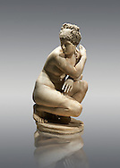 Lely's Venus (Aphrodite) Greek goddess of love, 1st 2nd century Roman Copy of a lost Greek original. This style of Aphrodite statue is known as the Crouching or bathing Aphrodite. Her arms stretch across in front of her and her right hand gently touches her right shoulder hiding her breasts. she looks to one side in surprise as if disturbed whilst bathing. Walking around the statue reveals 4 distinct viewpoints that tantalise the viewer and reveal nothing of Aphrodites nakedness. This statue is a  2nd century Roman copy of a lost Greek. Hellanistic original of the mid 3rd century BC Bronze attributed to the Greek sculptor Doldalsas of Bethynia. British Museum, London. .<br /> <br /> If you prefer to buy from our ALAMY STOCK LIBRARY page at https://www.alamy.com/portfolio/paul-williams-funkystock/greco-roman-sculptures.html . Type -    British Museum   - into LOWER SEARCH WITHIN GALLERY box - Refine search by adding a subject, place, background colour, museum etc.<br /> <br /> Visit our ROMAN WORLD PHOTO COLLECTIONS for more photos to download or buy as wall art prints https://funkystock.photoshelter.com/gallery-collection/The-Romans-Art-Artefacts-Antiquities-Historic-Sites-Pictures-Images/C0000r2uLJJo9_s0