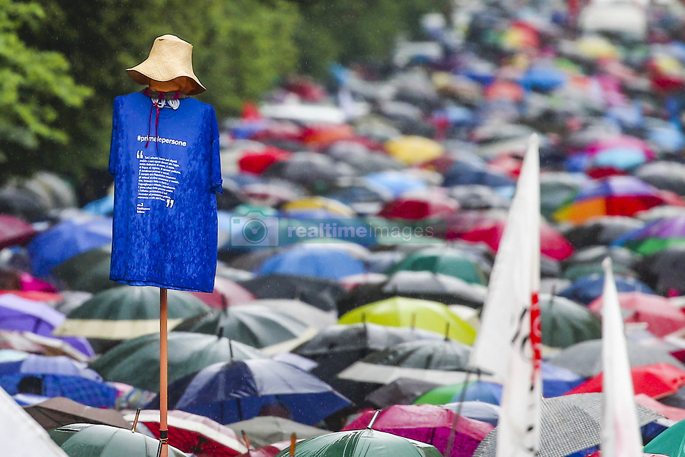 May 4, 2019 - Napoli, Campania, Italy - Demonstration in Naples, thousands for the ''First people'' event against all forms of racism and discrimination. Despite the heavy rain, thousands of citizens, members of associations, political exponents of different parties were demonstrated. (Credit Image: © Antonio Balasco/Pacific Press via ZUMA Wire)