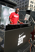 DJ MOS at the Nike Youth Tennis  Challenge held at The Nike -Built regulation Tennis Court  on West 23rd Street & Broadway in New York  City . ..Hundreds of tennis fans and youth form New York  Parks and Rec. Athlethes for Charity, and Mentoring USA are treating to tips and guidance from Tennis Pros Roger Federer, Rafael Nadal and Serena Williams...
