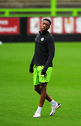 Ebou Adams of Forest Green Rovers warms up prior to kick-off- Mandatory by-line: Nizaam Jones/JMP - 03/10/2020 - FOOTBALL - the innocent [insert name here] stadium - Nailsworth, England - Forest Green Rovers v Walsall - Sky Bet League Two