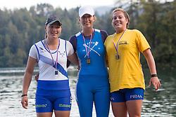 Sanja Savanovic (VK Argo Izola 1), Eva Urevc (VK Bled) and Kaja Grizon (VK Piran) in category JW1x (Women's Junior Single sculls) during rowing at Slovenian National Championship and farewell of Iztok Cop, on September 22, 2012 at Lake Bled, Ljubljana Slovenia. (Photo By Matic Klansek Velej / Sportida)