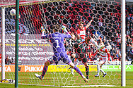 Mallik Wilks of Doncaster Rovers (7) heads wide during the EFL Sky Bet League 1 match between Doncaster Rovers and Plymouth Argyle at the Keepmoat Stadium, Doncaster, England on 13 April 2019.