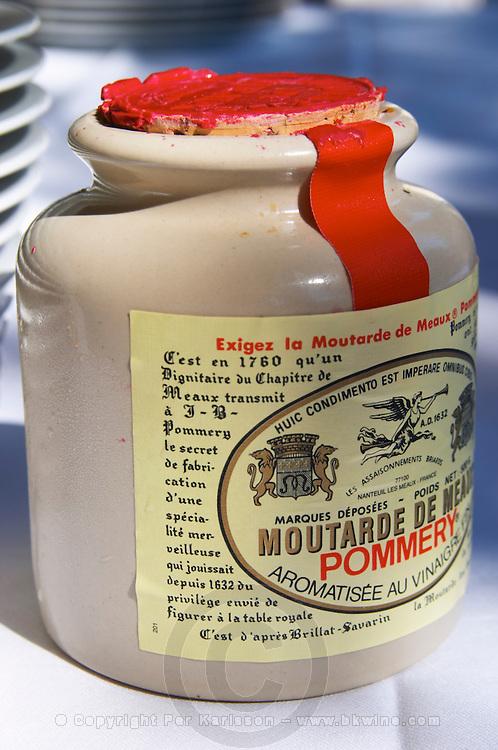 A ceramic French mustard pot with a red lid - Château Pey la Tour, previously Clos de la Tour or de Latour, Bordeaux, France