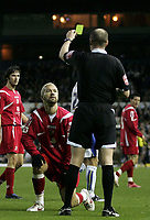 Photo: Paul Thomas/Sportsbeat Images.<br />Leeds United v Swindon Town. Coca Cola League 1. 17/11/2007.<br /><br />Swindon's Christian Roberts recieves a yellow card.