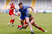 Halifax RLFC centre Steve Tyrer (3) scores a try  during the Betfred Championship match between Halifax RLFC and London Broncos at the MBi Shay Stadium, Halifax, United Kingdom on 8 April 2018. Picture by Simon Davies.