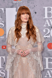 February 20, 2019 - London, United Kingdom of Great Britain and Northern Ireland - Florence Welch arriving at The BRIT Awards 2019 at The O2 Arena on February 20, 2019 in London, England  (Credit Image: © Famous/Ace Pictures via ZUMA Press)