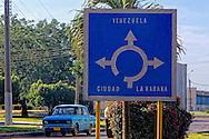 Road sign in Ciego de Avila, Cuba.