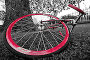 A black and white image of a bicycle with red tire rims and handlebar.