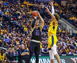 Mar 20, 2019; Morgantown, WV, USA; Grand Canyon Antelopes guard Tim Finke (24) shoots a three pointer during the first half against the West Virginia Mountaineers at WVU Coliseum. Mandatory Credit: Ben Queen