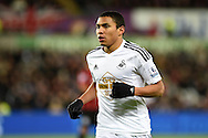 Jefferson Montero of Swansea city looks on. Barclays Premier league match, Swansea city v Queens Park Rangers at the Liberty stadium in Swansea, South Wales on Tuesday 2nd December 2014<br /> pic by Andrew Orchard, Andrew Orchard sports photography.