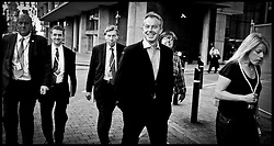 Prime Minister Tony Blair walks with the Secure Zone Manchester on the eve of the Labour Party Conference which is due to start tomorrow.PRESS ASSOCIATION Photo. Picture date:Saturday 23rd September  , 2006. Photo credit should read: Andrew Parsons/PA.