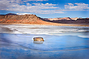 Lonely Rock in Frozen Pond, Nevada