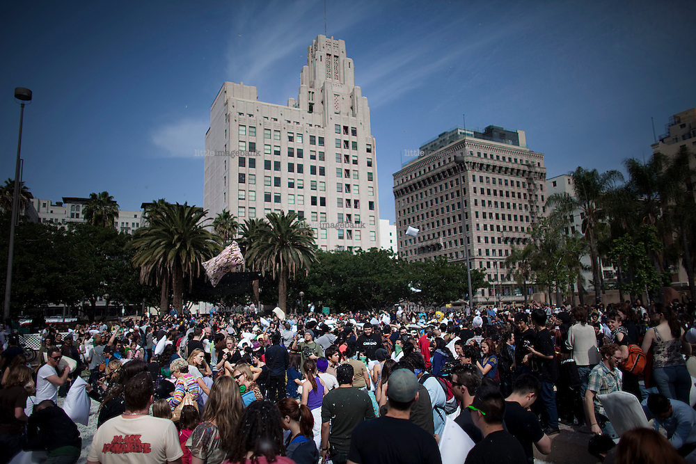 The International pillow fight day in Downtown L.A. in Pershing square. 03.04.2010. Los Angeles. CA. United States. Photo: Christopher Olssøn.