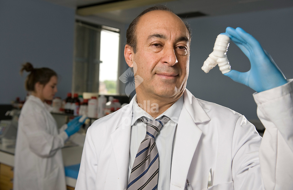 Picture by Daniel Hambury. .13/7/11..Alex Seifalian, Professor of Nanotechnology and Regenerative Medicine, with a synthetic trachea that he and his team have designed at University College London.