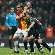 Galatasaray's Johan Elmander (L) during their Turkish Super League soccer match Galatasaray between Manisaspor at the TT Arena at Seyrantepe in Istanbul Turkey on Wednesday, 21 December 2011. Photo by TURKPIX