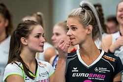 29-09-2018 NED: Supercup Sliedrecht Sport - Eurosped, Sliedrecht<br /> Sliedrecht takes the first price of the new season / Judith Kamphuis #3 of Eurosped, Susanne Kos #1 of Eurosped