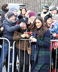 February 13, 2018 - Edinburgh, SCOTLAND - Prince Harry and Meghan Markle visit outside the Edinburgh Castle during the visit to Edinburgh, Scotland, 13.02.2018..Credit: PPE/face to face.- No rights for the Netherlands  (Credit Image: © face to face via ZUMA Press)