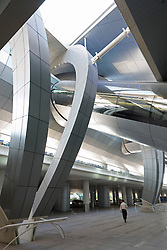 View of modern architecture at Terminal 3 of Dubai International Airport in United Arab Emirates
