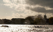 Putney, London, ENGLAND, 02.04.2006, Oxfrod steal the race from Cambridge, on the Hammersmith Bend, having clear water, as the crews pass Chiswick Eyot 2006, Varsity,Boat Race, Oxford vs Cambridge, Putney to Mortlake Championship course, © Peter Spurrier/Intersport-images.com.[Mandatory Credit Peter Spurrier/ Intersport Images] 2006, Varsity Boat Race,  Varsity, Boat race. Rowing Course: River Thames, Championship course, Putney to Mortlake 4.25 Miles