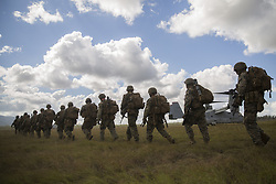 May 25, 2019 - Shoalwater Bay, Queensland, Australia - U.S. Marines conduct an aerial insert from a MV-22 Osprey transport aircraft during Exercise Southern Jackaroo May 25, 2019 in Shoalwater Bay, Queensland, Australia. Southern Jackaroo is a trilateral exercise with Australia, Japan and the United States. (Credit Image: © Jordan Gilbert via ZUMA Wire)