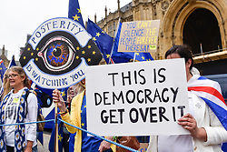 © Licensed to London News Pictures. 12/06/2018. LONDON, UK.  Anti-Brexit protesters demonstrate outside the Houses of Parliament as MPs begin two days of debate and vote on amendments to the EU Withdrawal Bill.  Photo credit: Stephen Chung/LNP