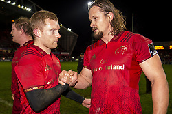 December 30, 2018 - Limerick, Ireland - Keith Earls and Arno Botha both of Munster during the Guinness PRO14 match between Munster Rugby and Leinster Rugby at Thomond Park in Limerick, Ireland on December 29, 2018  (Credit Image: © Andrew Surma/NurPhoto via ZUMA Press)