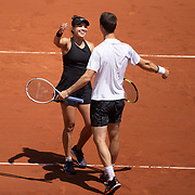 PARIS, FRANCE June 10. Desirae Krawczyk of the United States and Joe Salisbury of Great Britain celebrate after winning the mixed doubles final after their victory against Elena Vesnina and Aslan Karatsev of Russia on Court Philippe-Chatrier during the 2021 French Open Tennis Tournament at Roland Garros on June 10th 2021 in Paris, France. (Photo by Tim Clayton/Corbis via Getty Images)